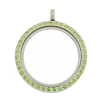 30mm Peridot Crystal Magnetic Stainless Steel Floating Locket